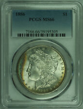 1886 Morgan Silver Dollar $1 Coin PCGS MS-66 Lightly Toned Obverse (27) B