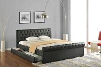 Polsterbett Kunstlederbett Doppelbett Ehebett Bettkasten weiss oder schwarz NEU