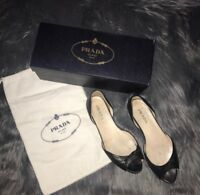 Authentic Prada bow d'orsay open toe black leather flat 37.5