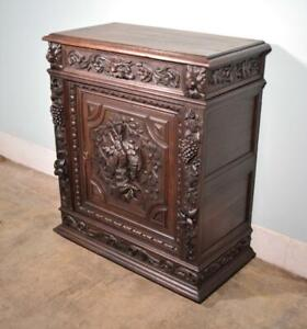 *French Antique Black Forest/Hunting Oak Sideboard/Buffet with Deep Carvings
