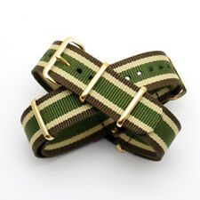 Brown / Beige / Green Stripe Nato Strap : Gold Buckle & Keepers : 20mm (FL196)