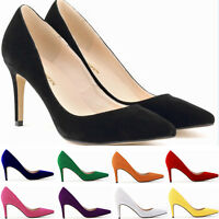Girl Womens High Heels Office Work Faux Suede Pointed Toe Pumps Shoes Plus Size