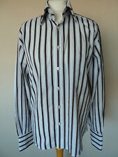 """Men's Selected White & Brown Striped Cotton Shirt Size S Chest 40""""  VGC"""