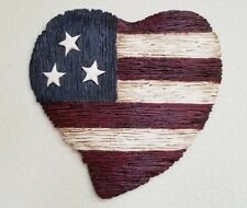 Americana Rustic Flag Heart Wall Decoration 4th of July Red, White, Blue