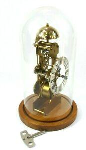 Vintage KIENINGER Mantel Clock TRANSLUCENT Germany Dome SKELETON Bell Chime Top