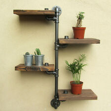 3 / 4 Tiers Wall Mount Iron Shelving Pipe Wooden Shelf Urban Industrial Rustic