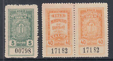 Argentina, Santa Fé, Forbin 413, 422 pair mint 1913 Municipal Tax Fiscals