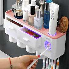 Toothbrush Holder Wall Mounted Rack Set Automatic Toothpaste Dispenser Tools Set
