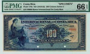 Banco Internacional de Costa Rica. P178s Specimen. PMG 66 EPQ GEM Uncirculated.