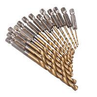 1,5 - 6,5mm Sechskant 13x HSS BohrerSatz Bit Titan Stahl Beschichtet Hex Metall