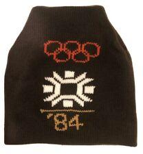Sarajevo Olympics Vintage 1984 Winter Ski Cap Knit Beanie Snow Brown Hat Avon
