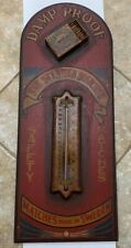 VINTAGE ADVERTISING ANTIQUE WOODEN SIGN THERMOMETER THE STEAMER MATCHES RARE.