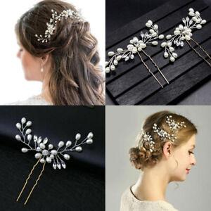 Wedding Bridal Bridesmaid Headdress Pearls Hair Clips Pins Headpiece Accessories