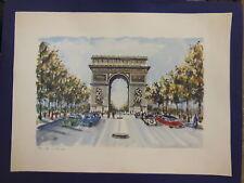 """Paris ARC DE TRIOMPHE Print by Ducollet 17 1/2"""" x 13"""" total"""