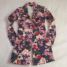 Tara Jarmon Womens Trench Coat XS Pink One Button Floral Print Pockets Target