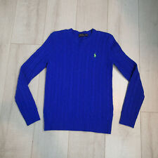 Polo Royal Blue Wool/Cashmere Cable knit Crew neck Size s green pony sweater y7