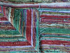 Indian Vintage Reversible Rag Rug Hand Loomed Throw Chindi Carpet Area Runner