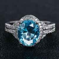 3Ct Oval Cut Aquamarine Gorgeous Halo Engagement Ring 14K White Gold Finish