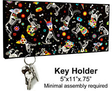 KEY HANGER HOLDER RACK - SUGAR SKULL 11 Dia de los Muertos Halloween Horror Dog