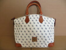 DOONEY & BOURKE White w/ Navy DB Print Handbag / Gold-Color Hardware /Vinyl-Feel
