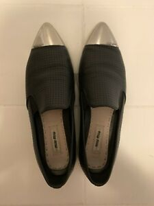 MIU MIU Metallic Cap Toe Black Leather Sneakers Women's Size 38.5