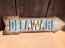 """Delaware State Flag This Way To Arrow Sign Directional Novelty Metal 17"""" x 5"""""""
