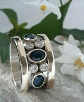 SOLID STERLING 925 SILVER HANDCRAFT JEWELRY CEYLON BLUE SAPPHIRE BAND RING