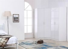REFLECT Plain 4 Door Corner Wardrobe Gloss White / White Bedroom Furniture Set