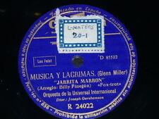 JAZZ 78 rpm RECORD Columbia ORQUESTA UNIVERSAL INTERNACIONAL Musica y Lagrimas