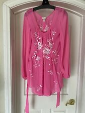 Womans TEMPERLEY London Pink Silk Chiffon Pacific Tunic Dress W/ Shell  Tie US 6
