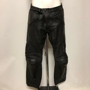 Dainese Trousers Black Leather Motorcycle Wear Men's Zipped Pockets 023619