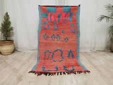 Vintage Moroccan Handmade Rug 3x5'5 Abstract Berber Faded Red Blue Wool Rug
