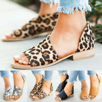 Women Ladies Open Peep Toe Side Cut Out Flats Booties Ankle Shoes Summer Sandals