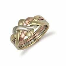 White Yellow & Rose Gold 4 Piece Puzzle Ring