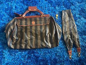 Authentic  FENDI Brown Nylon Canvas Weekender Travel Duffel Bag Padlock Italy L