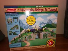 Melissa & Doug Wooden Train Mountain Bridge and Tunnel Fits Thomas Train