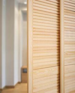 Open Louvre Door, Natural Clear Pine Wood Door, Wardrobe, Slatted Cupboard Door