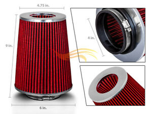 """4 Inches 102 mm Cold Air Intake Cone Truck Long Filter 4"""" NEW RED Chevy"""