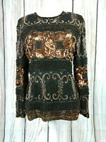 John Charles Evening Wear Full Beaded Sequin Heavy Occasion Top Indian Size 12