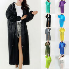 Women Men PVC Long Rainwear Raincoat Hooded Waterproof Poncho Jacket Coat