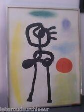 lithographie offset Personnage regardant le soleil par Miro