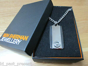 MENS BEN SHERMAN STAINLESS STEEL AND COBOLT DOG TAG NECKLACE BRAND NEW AND BOXED