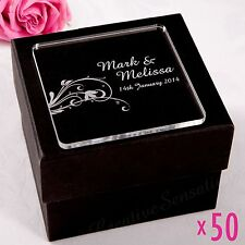 50 x Personalised Engraved Wedding Coasters Acrylic Favour Bomboniere Gift Drink