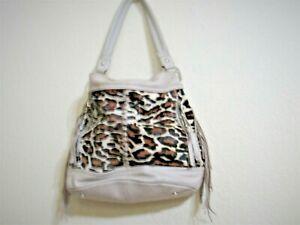 B Makowsky Animal Print  Large Leather Handbag