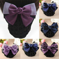 NEW Women Satin Bow Hair Clip with Snood Net Barrette Bun Cover Pink Black Brown