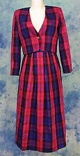 BROOKS SUMMER CHiC FUSiA PURPLE PLAiD RAW SiLK DRESS SKiRT SET CROPPED JACKET 4