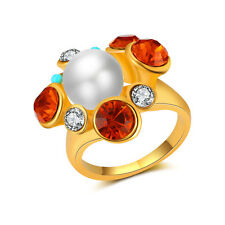 18K Yellow Gold Filled Women Pearl Crystal Ring Rings Men Rings Lovers Gift J027