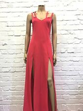 Donna Mizani Stunning Coral Maxi Gown With Side Splits Size Small