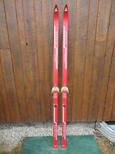 "VINTAGE Wooden 75"" Skis Has RED Finish"