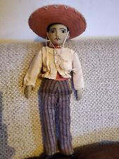 """Rare 17"""" Cloth Rag Antique Mexican Male Doll Applied Ears Orig Clothes Stitched"""